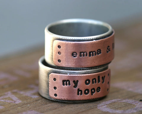 Personalized silver and copper band ring mens (S0232)