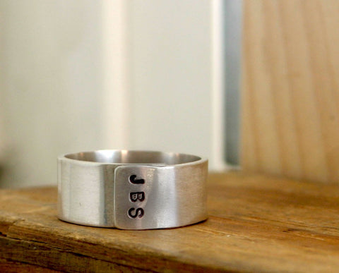 Custom Initials Sterling Silver Band Ring Mens or Womans (S0235)