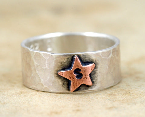 Star Ring with Personalized Initial (S0241)