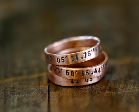 Personalized copper stacking rings (S0239)