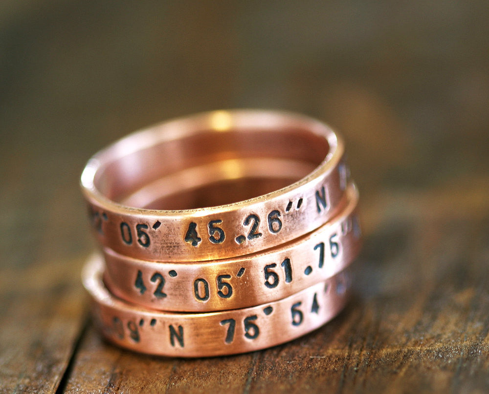 Personalized Copper Stacking Rings S0239