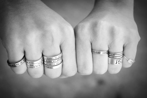 Custom sterling silver stacking rings set of 3 (S0240)