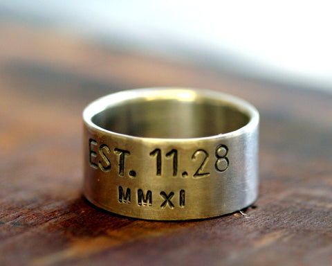 Men's Wedding Band Sterling Silver Custom Date (S0242)