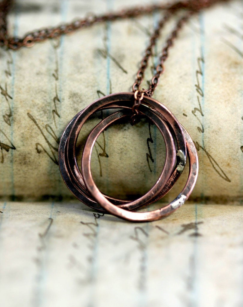 Trinity Ring Necklace of Oxidized Copper (S0247)