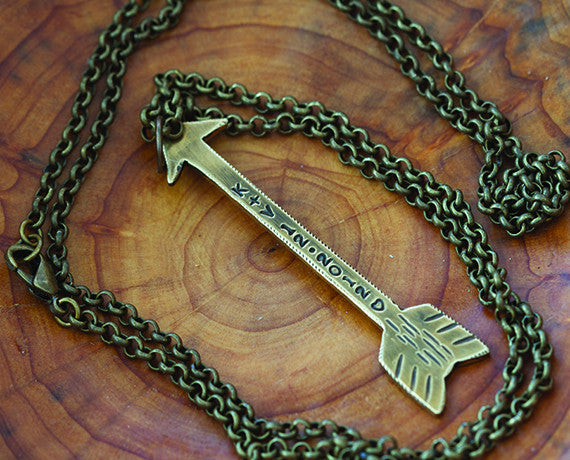 Custom Brass Arrow Necklace & Chain S0380a