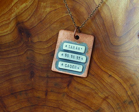 Personalized Initial Copper Narrow Plate Necklace (S0483)