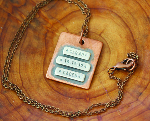 Personalized Copper Wide Name Plate Necklace  (S0482)