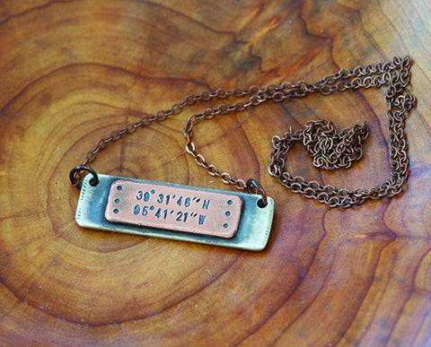 Latitude Longitude Mixed Metal Plate Necklace S0484