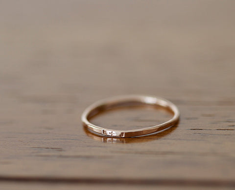 14k Rose Gold Dainty Personalized Band (S0597)