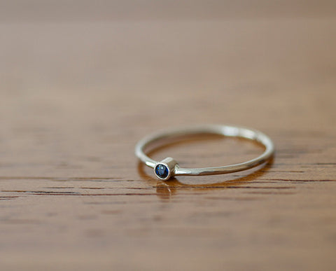 14k White Gold Band Set with Round Blue Sapphire (S0599)