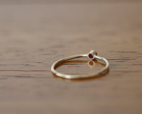 14k Yellow Gold Band Set with Ruby (S0600)
