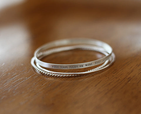 Sterling Silver Personalized Bangle Set (S0608)