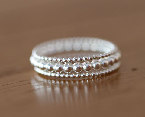 Sterling Silver Bead Ring Set (S0610)
