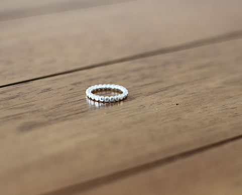 Personalized Sterling Silver Bead Ring (S0611)