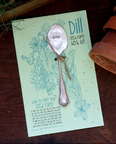 Plantable paper herb kit with Dill garden marker
