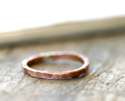 Hammered copper ring organic stackable ring (S0255)