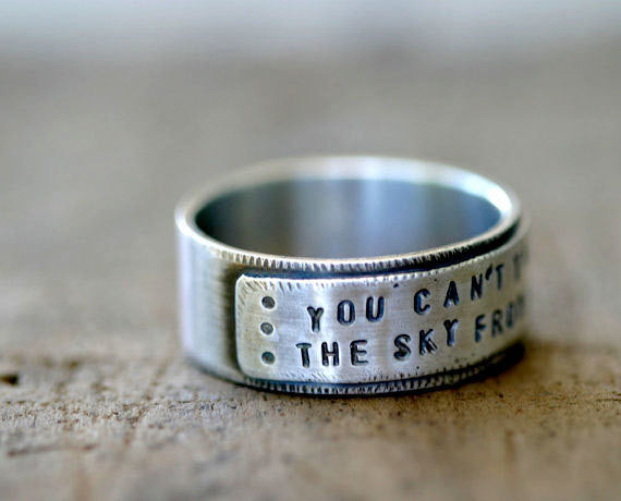 Mens Sterling Silver Personalized Band Ring S0260