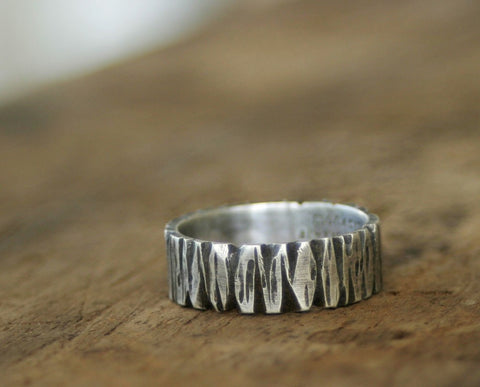 Sterling Silver Redwood Tree Bark Band Ring (S0261)