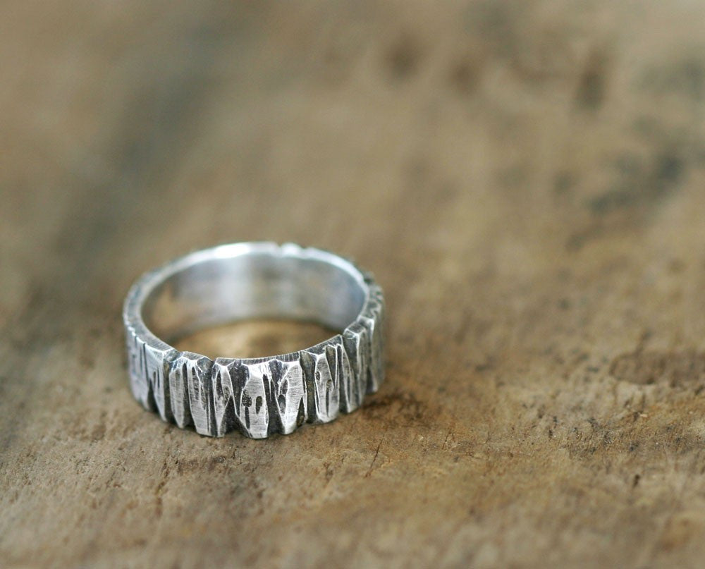 Sterling Silver Redwood Tree Bark Band Ring S0261
