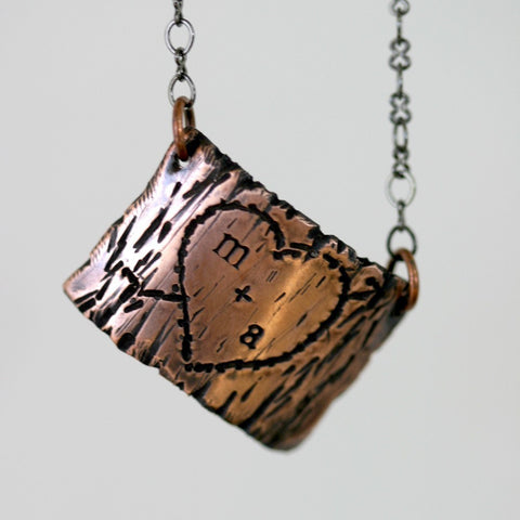 Tree Bark Lovers Carving Copper Necklace (S0263)