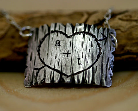 Tree Bark Sterling Silver Necklace (S0288)