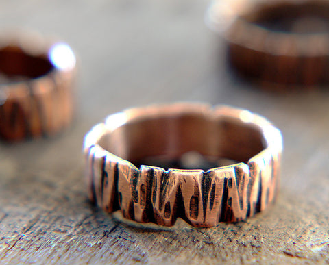 Tree Bark Copper Band Ring Redwood Tree (S0264)