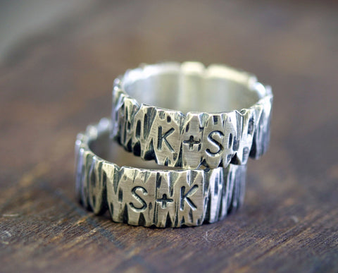 Personalized Sterling Silver Tree Bark Ring (S0265)