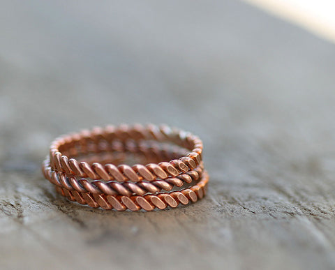Copper twisted stacking rings (S0266)