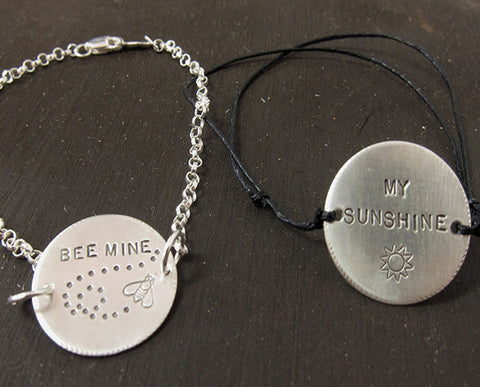 Cotton Band Personalized BEE MINE or MY SUNSHINE bracelet S0417