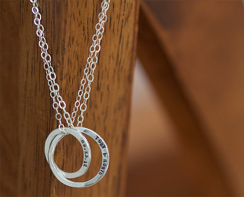 Sterling Silver Dainty Wedding Band Necklace  (S0338)