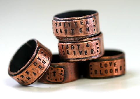 Large Copper Wide Band Ring Personalized (S0281)