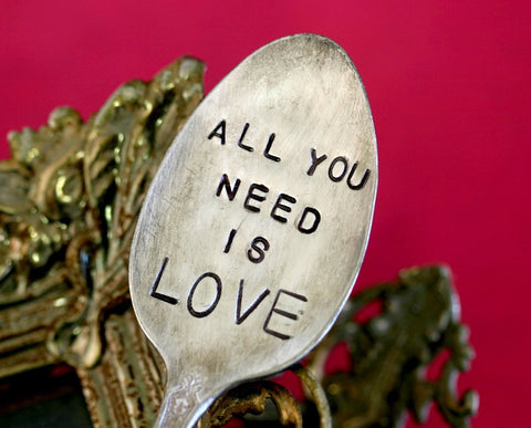 All You Need Is Love Vintage Silverware Marker Upcycled Recycled Plant Stake (S0169)