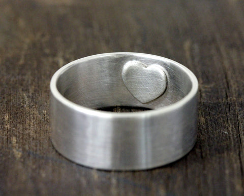 Secret heart mens wedding ring (S0218)