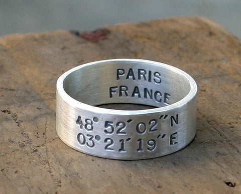 Latitude and Longitude wedding ring set (S0278)