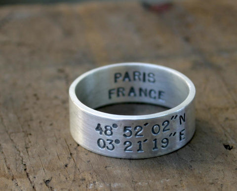 Latitude Longitude Sterling Silver Ring (S0206)