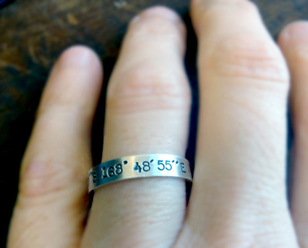 Latitude And Longitude Wedding Ring Set