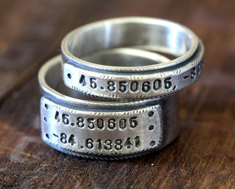 Wedding ring set latitude and longitude wedding bands (S0280)