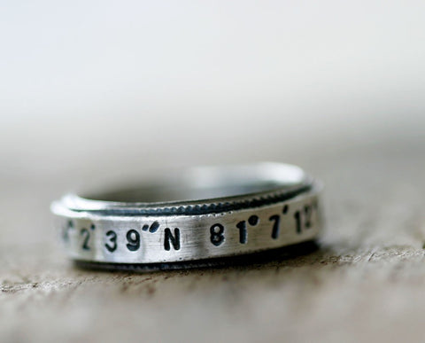 Custom Latitude Longitude sterling silver ring (S0208)