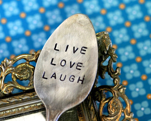 Live Love Laugh Stamped Spoon Garden Marker Vintage Silverware S0213