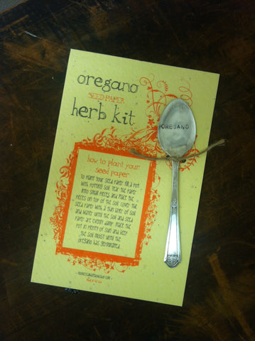 Plantable paper herb kit with Oregano garden marker