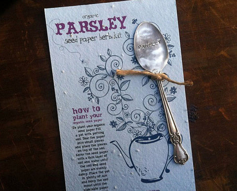 Plantable paper herb kit with Parsley garden marker