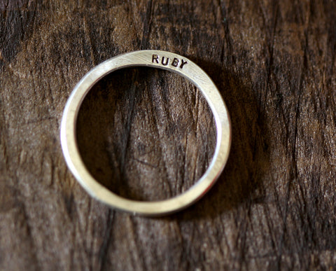 Personalized Modern Hammered Band Ring (S0222)
