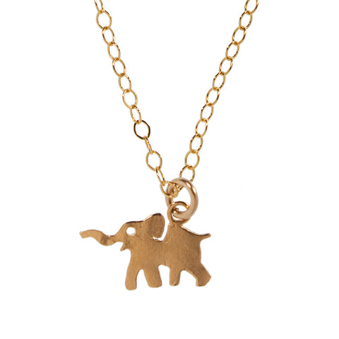 Gold Charm Necklace - Elephant
