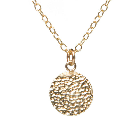 Gold Charm Necklace - Hammered Disc
