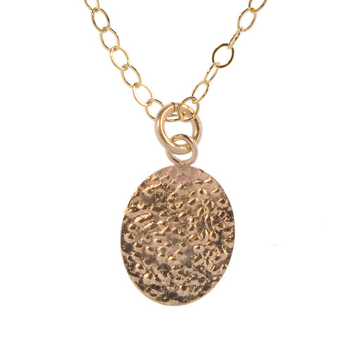 Gold Charm Necklace - Hammered Oval