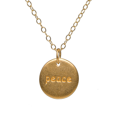 Gold Charm Necklace - Peace on Disc