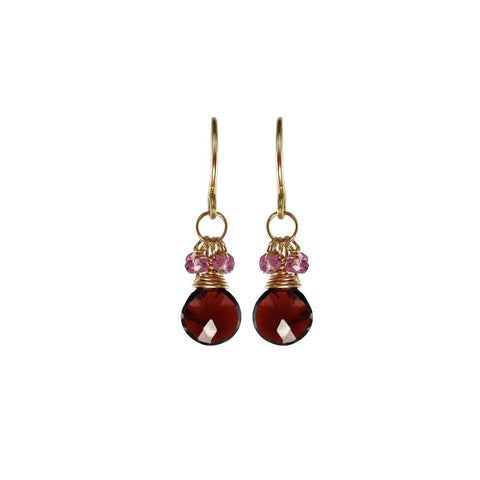 Garnet and Pink Tourmaline Rondelle Earrings