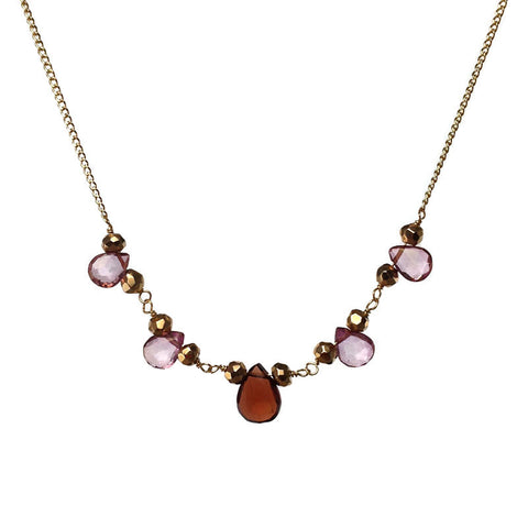 Garnet and Pink Topaz Necklace