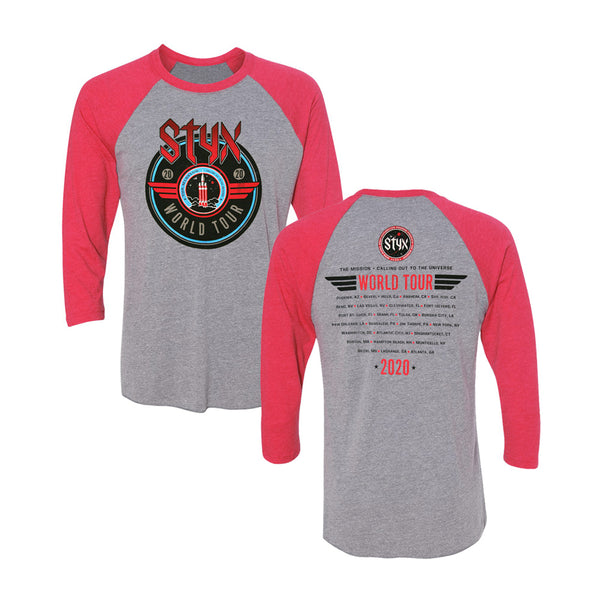 THE MISSION: 2020 WORLD TOUR RED / GREY RAGLAN LONGSLEEVE
