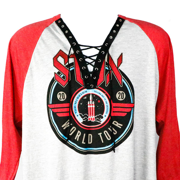 The Mission: 2020 World Tour Red & Grey 3/4 Sleeve Custom T-Shirt